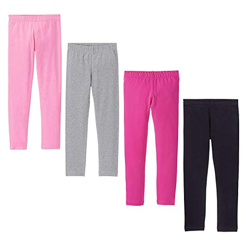 DOCHY Baby Girls' 4-Pack Leggings Cotton Basic Legging for Kids Fitting Long Pant Girls Leggings Toddler Active Leggings (4-5T) by DOCHY