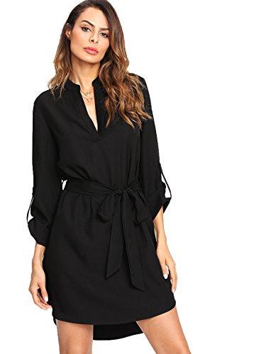 Milumia Women's V-Neck 3/4 Sleeve High Low Curved Hem Self-Tie Waist Shirt Dress Large ()
