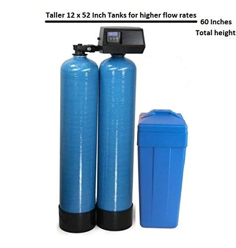USA Fleck 9100 SXT Twin Tank Metered On-Demand 64,000 Grains Per Tank Water Ships Pre Loaded With Resin (Best Twin Tank Water Softener)