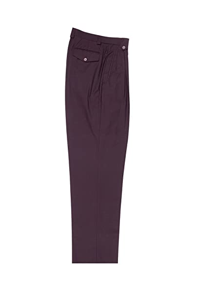 Men's Vintage Pants, Trousers, Jeans, Overalls Tiglio Luxe Wine Wide Leg Pure Wool Dress Pants 2576 848651/4245 $99.00 AT vintagedancer.com