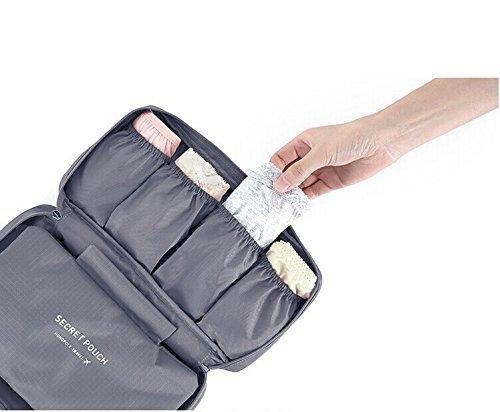 Fashion Portable multifunktionale Travel Organizer Kosmetik Make-up Tasche Gepäck Lagerung Fall Bh Unterwäsche Tasche grau