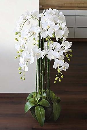 Künstliche Orchideen im Hochtopf 120cm rosa Gesteck Kunstpflanze Phalaenopsis 5