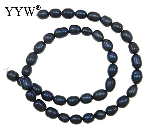 Calvas 6-7mm Natural Freshwater Pearl Beads Black Rice Pearl Loose Beads for DIY Necklace Bracelat Jewelry Making Finding
