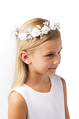 Girls White Pearl Rhinestone Center Floral Crown First Communion Flower Girl Head Wreath with Veil #782