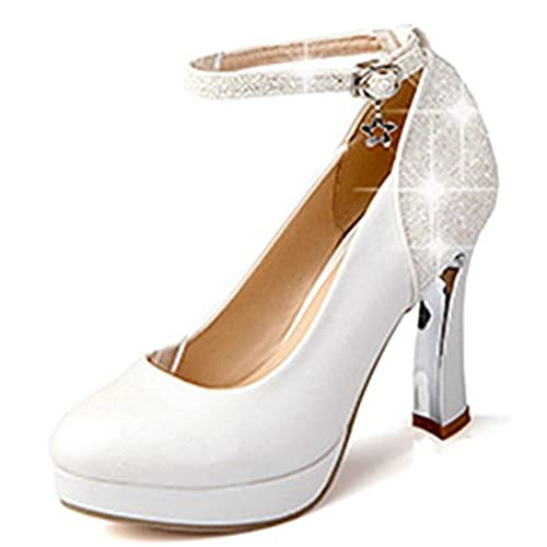 ee436a356d08 IDIFU Women s Glitter Sequined Chunky High Heel Pumps Platform Ankle Strap  Buckle Shoes best