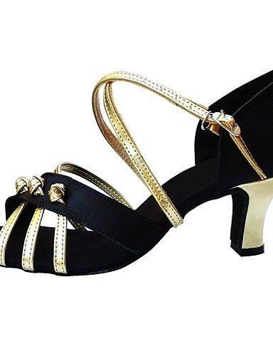 Jazz de Chaussures Danse Baskets danse Moderne Gold Satin Personnalisables Ballet Talon Or Bas Ventre ShangYi Non de Latine f7wdq75