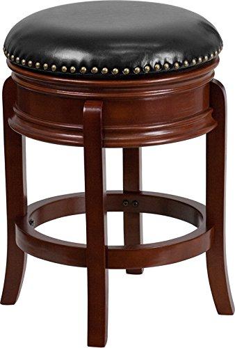 (Estella 24'' Backless Light Cherry Wood Counter Stool w/Black Leather Swivel)