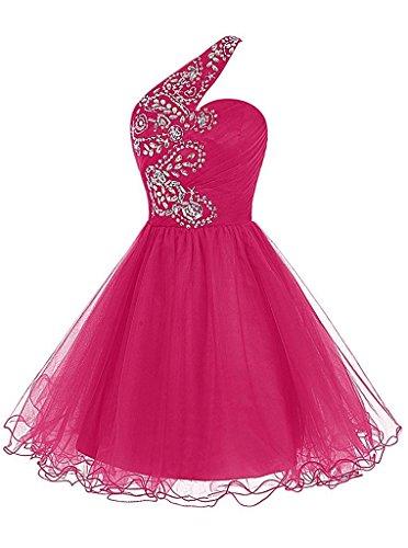 ivyd Damen spalla Liebling festa pietre cocktail breve Prom Organza ressing vestito vestito Fuchsie da un sera della da vestito rwXFxEr5q