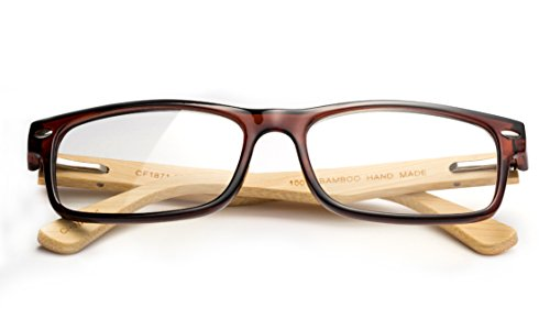 Newbee Fashion - Unisex Translucent Simple Design No Logo Clear Lens Glasses Squared Fashion Frames Brown Bamboo