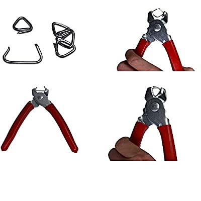 HARDK Hog Ring Pliers & 300 Galvanized Hog Rings - Professional Upholstery Installation Kit