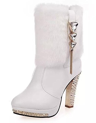 Bumud Women's Rhinestone Faux-fur Platform High Heel Snow Boots Winter Pumps (8 B(M)US, White) (Platform Fur Faux)