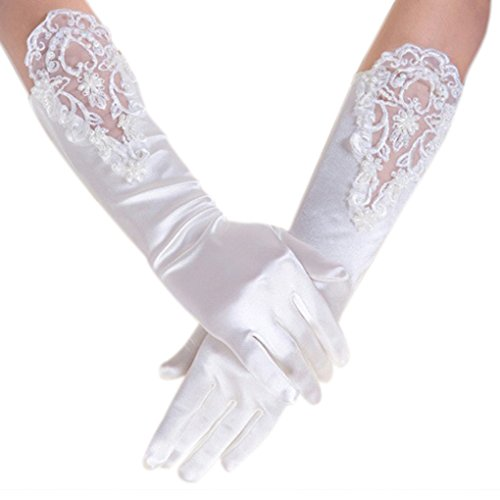 Mid Arm Length Lace Gloves (Wedding Bridal Elastic Elbow Lace Satin Gloves Ladies Elegant Party Dress Gloves)