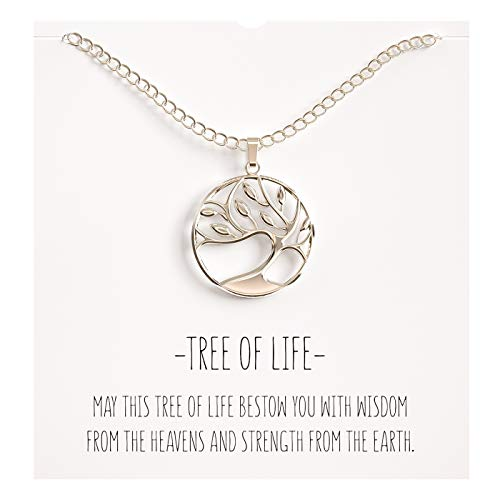- Happy Kisses Tree of Life Pendant Necklace Silver Jewelry Anniversary Present for Birthday Sister Wife Daughter Granddaughter Grandma Mom