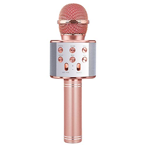 Karaoke Microphone for Girl, Toy Gift for 8-12 Year Old Girls Singing Microphone for Kids Boys Music Toy for 5-11 Year Old Kids Girl Party Gift Age 4-12 Girl Rose Gold Mic