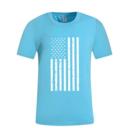 Masun Men's Summer American Flag Print Round Neck Slim Fit Short Sleeve Top Shirt Blouse Basic Casual T-Shirts Blue ()