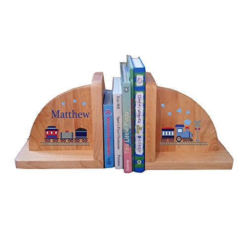 Personalized Train Natural Childrens Wooden Bookends by MyBambino