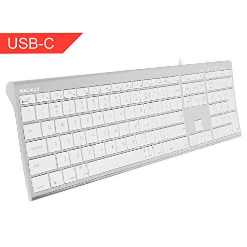 Wired USB-C Keyboard, Macally Ultra-Slim USB Type C Keyboard forApple MacBook Pro/Air Laptops, iMac Pro Desktop Computers, iPad, Chromebook Notebook - Plug and Play - No Drivers (Aluminum Silver)