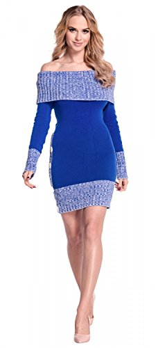 Femme style mlange Bleu maille en bardot Robe Glamour 913 Empire Royal pull moulante qXFw5UnTpx