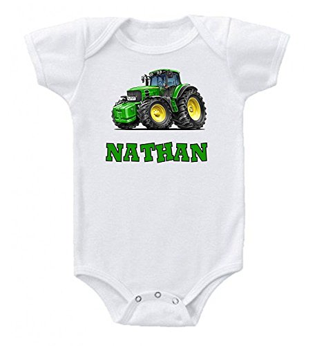 Cute Tractor Baby Onesie Bodysuit Short Sleeve Personalized Custom 0 to 3 mos or 3 to 6 months for Boys Gift ideas