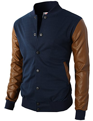 H2H Mens Slim Fit Varsity Baseball Bomber Jacket Of Various Styles,Kmoja0132-navy,US L (Asia XL)