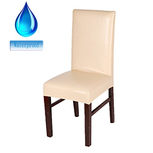 Deisy Dee Solid Color PU Leather Stretch Waterproof Chair Protector Covers For Dinging Living Room Chair C051 (champagne)