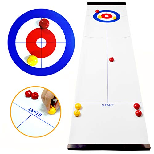 Purchase TableTop Curling Game and Family Fun Board Games Shuffleboard Pucks with 8 Rolllers Gifts for Kids and Adults Travel Compact Storage