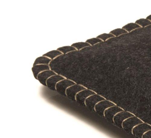 Notebooktasche APFELTASCHE /// 13 Zoll Mac-Book /// Filz: anthrazit, Naht: silbergrau handgenäht in Berlin
