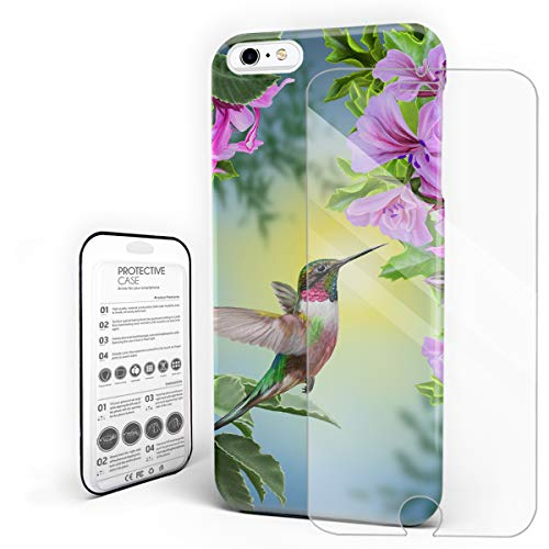 Hummingbird and The Flowers Phone Case Protective Design Durable Hard PC Back Phone Cover with Tempered Glass Screen Protector Compatible for iPhone 6 Plus/iPhone 6s Plus ()