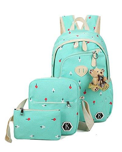 Handbag Schoolbag Girls Purse With Green Backpack School Pattern And Flower Bags Yilianda Sets wBXa6xzqan