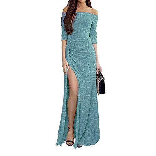 Ulanda-Dress Ulanda Womens Cocktail Maxi Dress Off Ruched Knit High Slit Evening Party Cocktail Dress XXX-Large Green