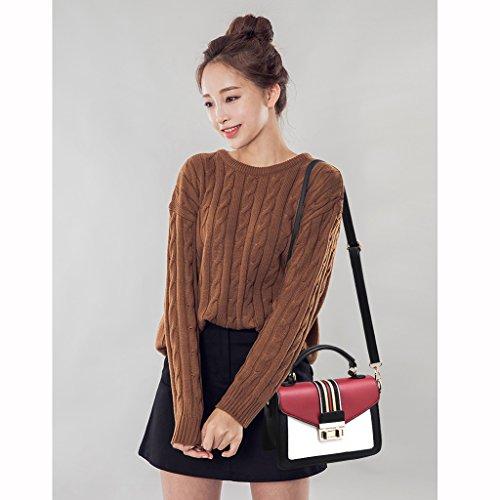 de Messenger Bag Burgundy Lindo Personalidad Bolso Bolso Coreano Hadas Verano Femenino Retro de 4PdqSw