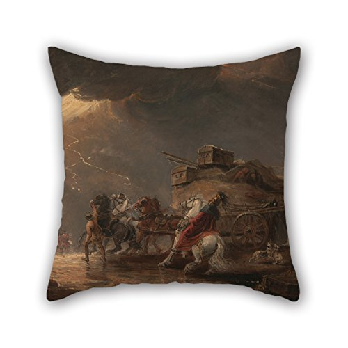 Artistdecor 16 X 16 Inches / 40 By 40 Cm Oil Painting Luke Clennell - Baggage Wagons In A Thunderstorm Cushion Covers ,each Side Ornament And Gift To Floor,couch,adults,lover,bar Seat,gril ()