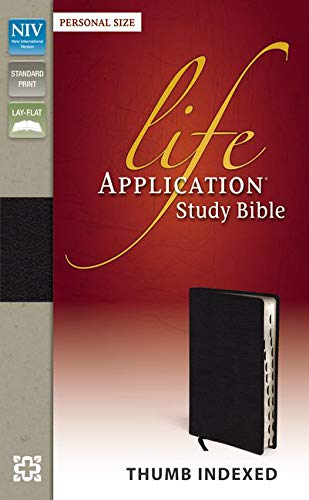 NIV, Life Application Study Bible, Personal Size, Bonded Leather, Black, Indexed, Point size is 8.5