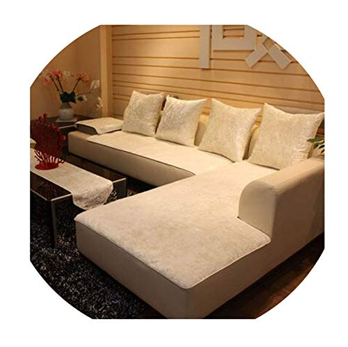 European Style Four Seasons Sofa Cover Anti-Skid Leather General Plush Towel Sofa Cover Modern Slipcover,White,90210Cm