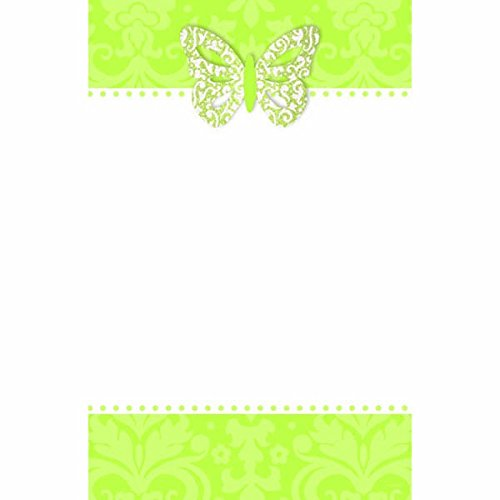 Amscan Elegant Honeydew Printable Party Invitations with Add-On Butterfly, 8-1/2 x 5-1/2