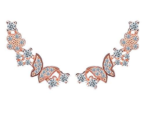 Sterling Silver Cubic Zirconia Shining Butterfly Diamond Stud Ear Cuffs Earrings for Girls Women (Rose (Silver Butterfly Cuff)