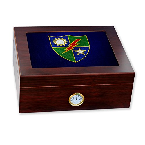 (Premium Desktop Humidor - Glass Top -US Army 75th Ranger Regiment (Airborne) DU)