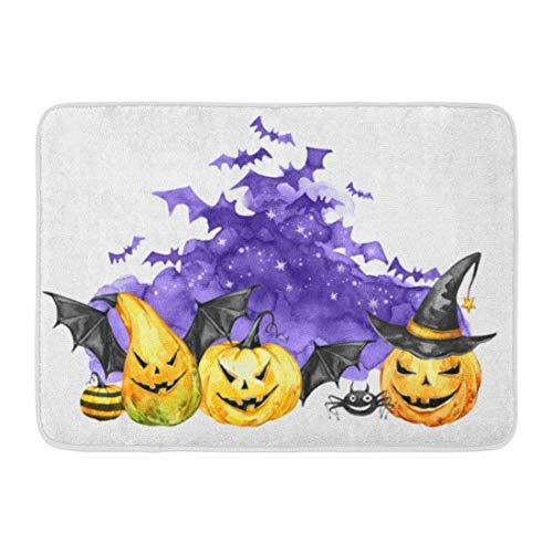 Emvency Doormats Bath Rugs Outdoor/Indoor Door Mat Watercolor Scary Night Flock of Bats and Holidays Pumpkins Halloween Magic Symbol Horror Vampires Can Be Bathroom Decor Rug 16