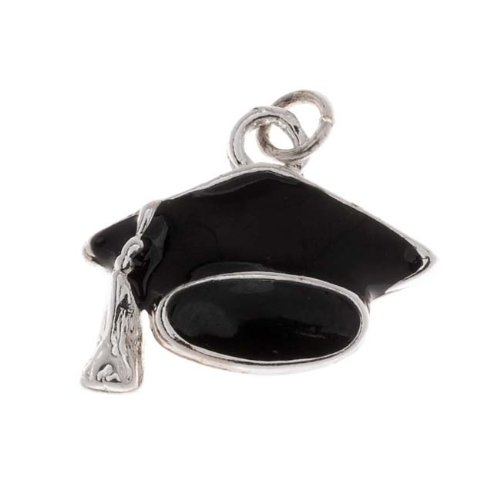 Delight Beads Silver Plated Black Enamel Graduation Cap Mortarboard Hat Charm 15mm ()
