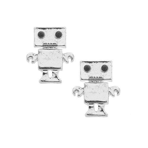 Cute Robot (Spinningdaisy Silver Plated Box Robot Earrings)