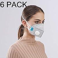 FANDANGO Máscara Anti-contaminación Filtro de Aire para Máximo Filtrado y Clip para Nariz. Protege de la Contaminación, Polvo, Gases de Mofle, Esmog, Alergia al Polen. (Paquete con 6 MASCARAS) (Gris)