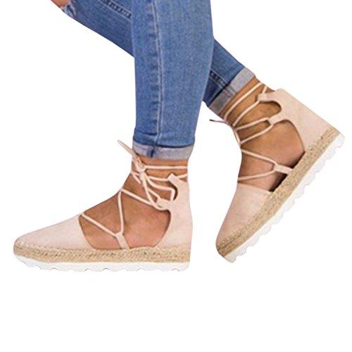 Binden Sommer Klassischen 5 Rosa Ausgeschnitten Niet Sandale Espadrilles Schnalle Schuhe Knöchel Flache Damen Riemen Gemijacka xWqzYaFw1w