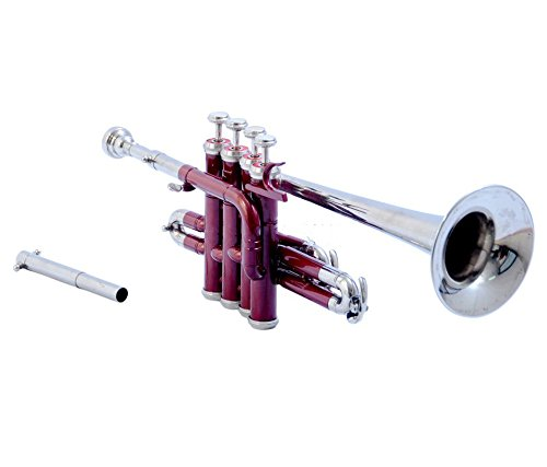 GIFT FOR SON PICCOLO TRUMPET Bb PITCH MAROON COLORED WITH FREE CASE AND MP by SAI MUSICAL