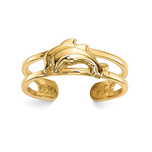 Black Bow Jewelry 14k Yellow Gold 5.5mm Polished Double Dolphin Toe - Toe Dolphin Gold 14k Ring