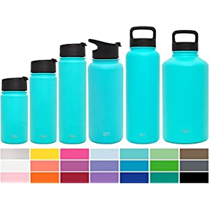 Simple Modern 32oz Summit Water Bottle + Extra Lid - Vacuum Insulated Stainless Steel Wide Mouth Hydro Travel Mug - Powder Coated Double-Walled Flask - Caribbean Blue