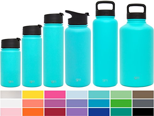 Simple Modern 32oz Summit Water Bottle + Extra Lid - Vacuum Insulated Stainless Steel Wide Mouth Liter Hydro Travel Mug - Powder Coated Metal Flask - Caribbean Blue
