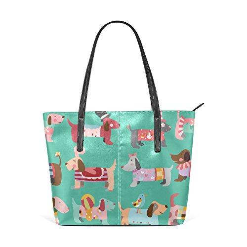 COOSUN Dogs Pattern PU Leder Schultertasche Handtasche und Handtaschen Tasche für Frauen