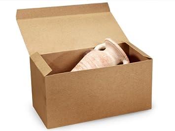 Marrón papel Kraft cajas de regalo 15 x 7 x 7 cm 100% barniz reciclado rayas - 1 pc (1 unidad, 50 unidades por unidad.): Amazon.es: Oficina y papelería