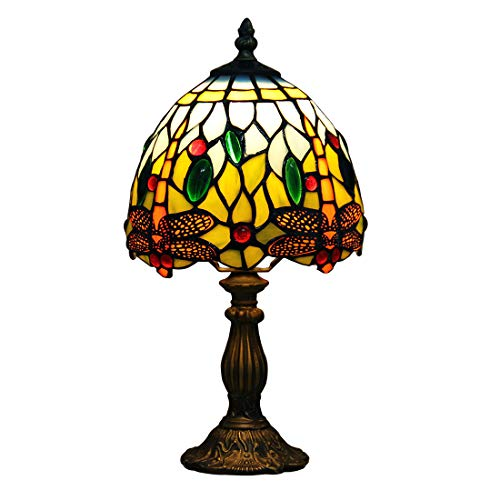 Makenier Vintage Tiffany Style Stained Glass Bedroom Bedside Corner Table Desk Blue Dragonfly Small Lamp, 7 Inches Lampshade