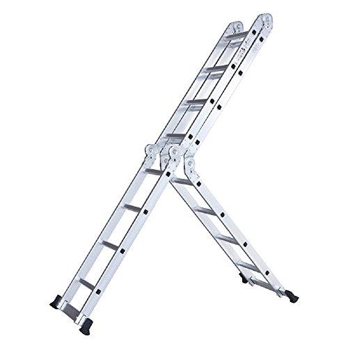 15.5 Ft Multi Position Aluminum Folding Step Work Platform Scaffold Stair Single Double Trestle Ladder 330LBS Sturdy